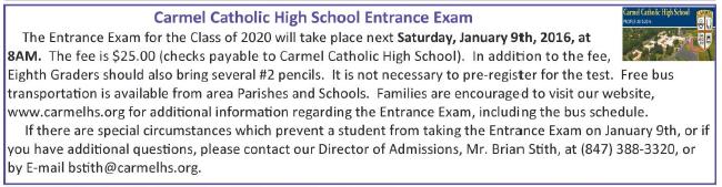 Carmel HS Entrance Exam